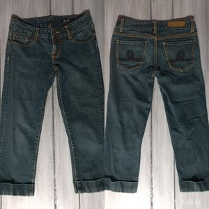 Seven7 cropped 28 dark low rise jeans
